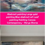 Abstract painting Large gold painting Blue abstract art Leaf painting Painting Canvas Contemporary - Merys Stores