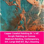 "Copper Coastal Painting 24 ""x 48"", Acrylic Painting on Canvas, Abstract Painting, Contemporary Art, Large Wall Art, By L Dawning Scott"