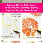 Drawing; Sketch; Stick figure; Pencil drawing, painting tutorial; Easy drawing; D - Merys Stores