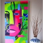 Contemporary Art Face Acrylic Painting on Canvas Handmade Artwork Vertical Painting Green Painting Pink Paintings Large Abstract Canvas