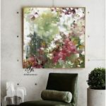 Original green abstract painting, custom oil painting, large canvas art, green red wall art, texture painting for living room by Julia Kotenko