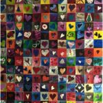 Abstract, collages, acrylic painting, contemporary art, mixed media, hundreds of hearts