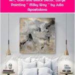 Watercolor Abstract Painting, Contemporary Art Print, Huge Wall Art, Gold and Black Decor, Large Painting '' Milky Way '' by Julia Apostolova