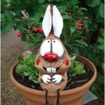 CERAMIC BEE GARDEN PLUG Edge seat with ram legs Garden decoration sculpture -...
