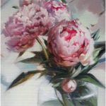 Peonies in vase oil painting on canvas original, Flowers blossom peony wall art, Valentine's day gift for women