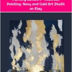 Items similar to Modern Original Painting EunieArt Abstract Painting: Navy and Gold Art 24x24 on Etsy