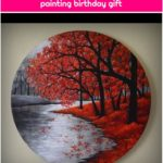 Colorful kids room wall art decor Ink on canvas ready to hang small painting birthday gift