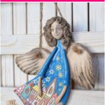 Guardian angel clay sculpture ceramic art wall decoration small gift romantic style rustic home decor colored figure ornament angel