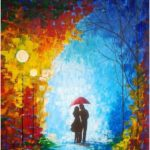Large original oil painting - couple with umbrella - night scene - palette knife - colorful umbrella canvas painting - contemporary art