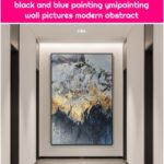 Gold leaf moutain painting framed wall art painting on canvas acrylic black and blue painting ymipainting wall pictures modern abstract