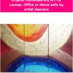 Rainbow Abstract painting A318 textured gold geometric Acrylic Original Contemporary Art for Lounge, Office or above sofa by artist Ksavera
