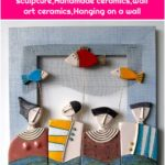 Fishing-Ceramic art ,Ceramic sculpture,Handmade ceramics,Wall art ceramics,Hanging on a wall