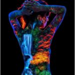 """""""Momiji"""" (Japanese for Red Leaves) is a UV Body Painting photographed under Blac..."""