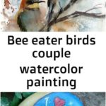 Bee eater birds couple watercolor painting