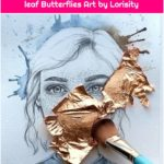 Whimsical Girl Drawing with Gold leaf Butterflies Art by Lorisity
