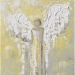 GICLEE PRINT Art Abstract Angel Oil Painting Yellow Grey Angel WIngs Oil Painting Home Holiday Decor Wall Decor White Gold - Christine