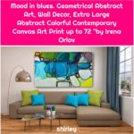 """Mood in blues. Geometrical Abstract Art, Wall Decor, Extra Large Abstract Colorful Contemporary Canvas Art Print up to 72 """"by Irena Orlov"""