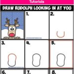 How to Draw Rudolph the Red Nosed Reindeer Looking in Window Easy Step by Step Drawing Tutorial Art Lesson for Kids on Christmas - How to Draw Step by Step Drawing Tutorials