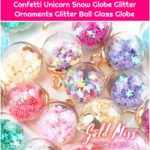 Mini Snow Globe Unicorn Ornament Glitter Globe Miniature Stars Star Confetti Unicorn Snow Globe Glitter Ornaments Glitter Ball Glass Globe