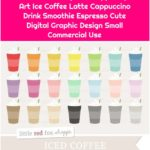 Iced Coffee Clipart, Frappe Clip Art Ice Coffee Latte Cappuccino Drink Smoothie Espresso Cute Digital Graphic Design Small Commercial Use
