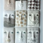 Face plaque wall sculpture, ceramic art tile, head sculpture, Picasso cubist style art lover gift, abstract wall art